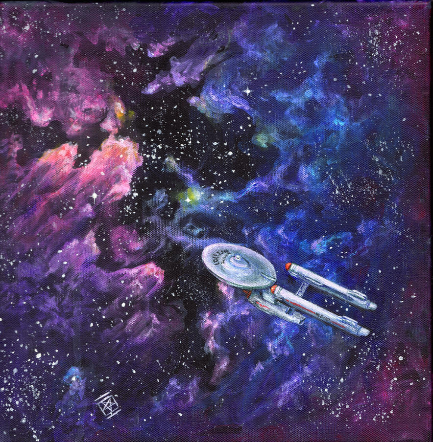 The Enterprise with violet and magenta by starwilliams