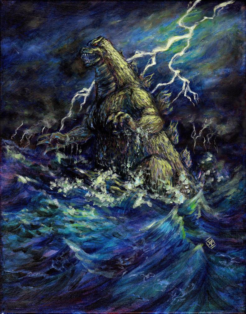 Godzilla Rising From the Ocean by starwilliams