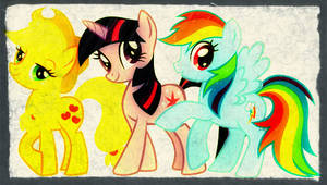 MLP Applejack,Twilight Sparkle, and Rainbow Dash by DevintheCool