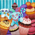 Little creature in a sea of cakes