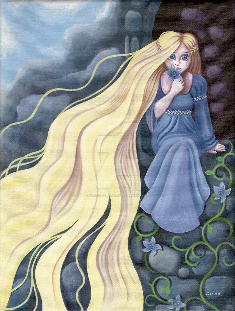 Rapunzel in her tower by HellbeeretH