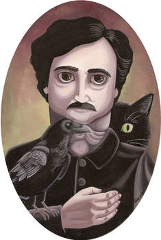 Edgar Allan Poe with a crow and a cat