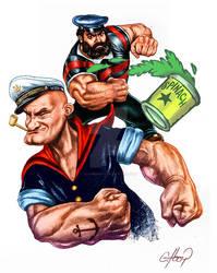 Popeye ilustracion en texica digital