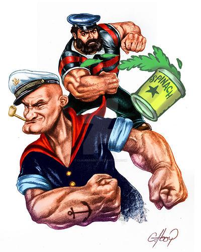 Popeye ilustracion en texica digital by claudioaboy