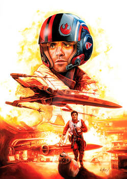 STAR WARS POE oil on canvas 23 x 35 inches