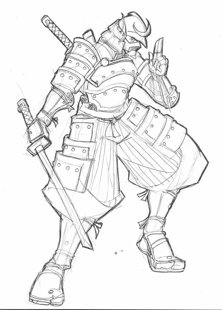 Line Art Ninja : Rikimaru with ninja armor by roadkillblues on deviantart