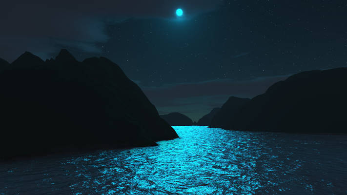 Fantastic night light - Terragen and Photoshop