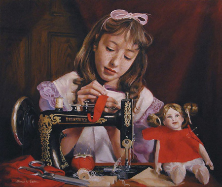 Child Sewing on Treadle