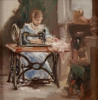 Teen Sewing on Treadle