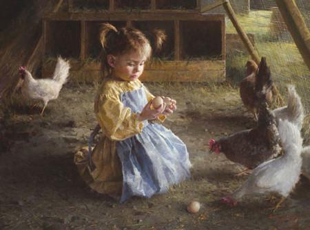 Girl Child in Coop Holding Egg