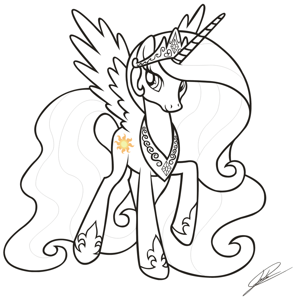 mlp fim coloring pages - mlp fim princess celestia lineart by dsonic720 on