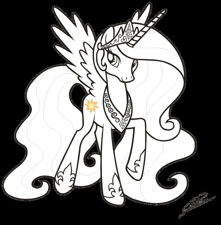 princess celestia coloring page - mlp fim princess celestia lineart by dsonic720 on