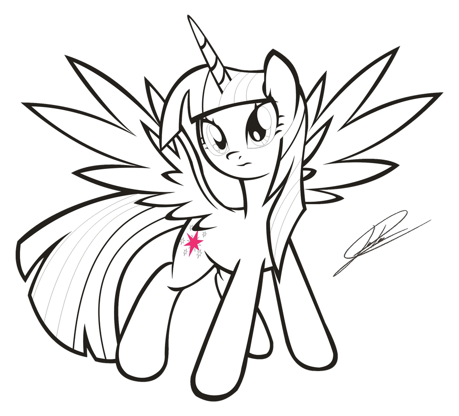 mlp fim princess twilight sparkle lineart by dsonic720 on