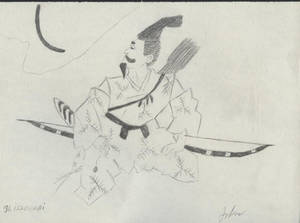 Issoghai - Paper samurai drawing sketch