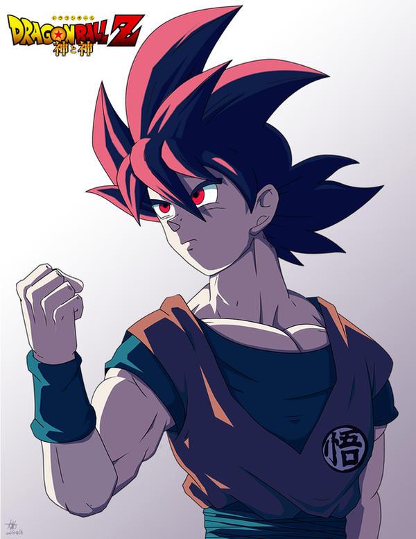Goku ssj God (ilustracion para concurso) by kakarotoo666 on DeviantArt