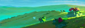 Bulbasaur's family at dawn by EdCtjr