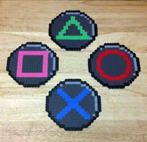 PlayStation button coasters by RoninEclipse2G