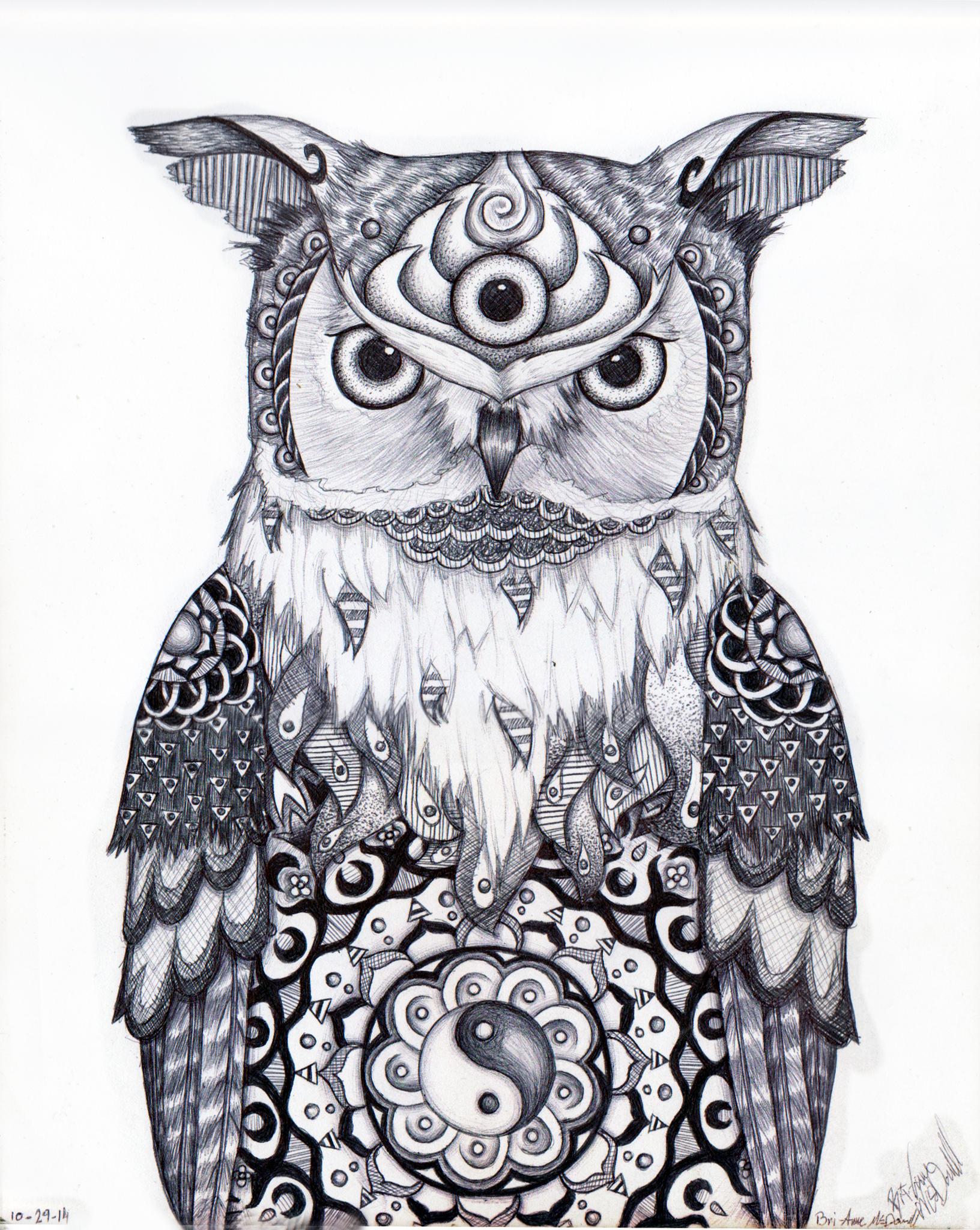 semi psychedelic semi realistic owl by bribri chan on deviantart