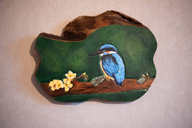 Kingfisher leather carving