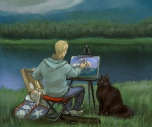 A Painter And His Cat by kiri-stansfield
