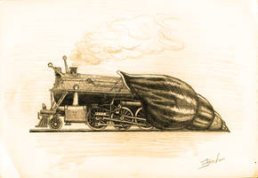 Steam-Powered Snail (shaded, sepia) by EugenBehm