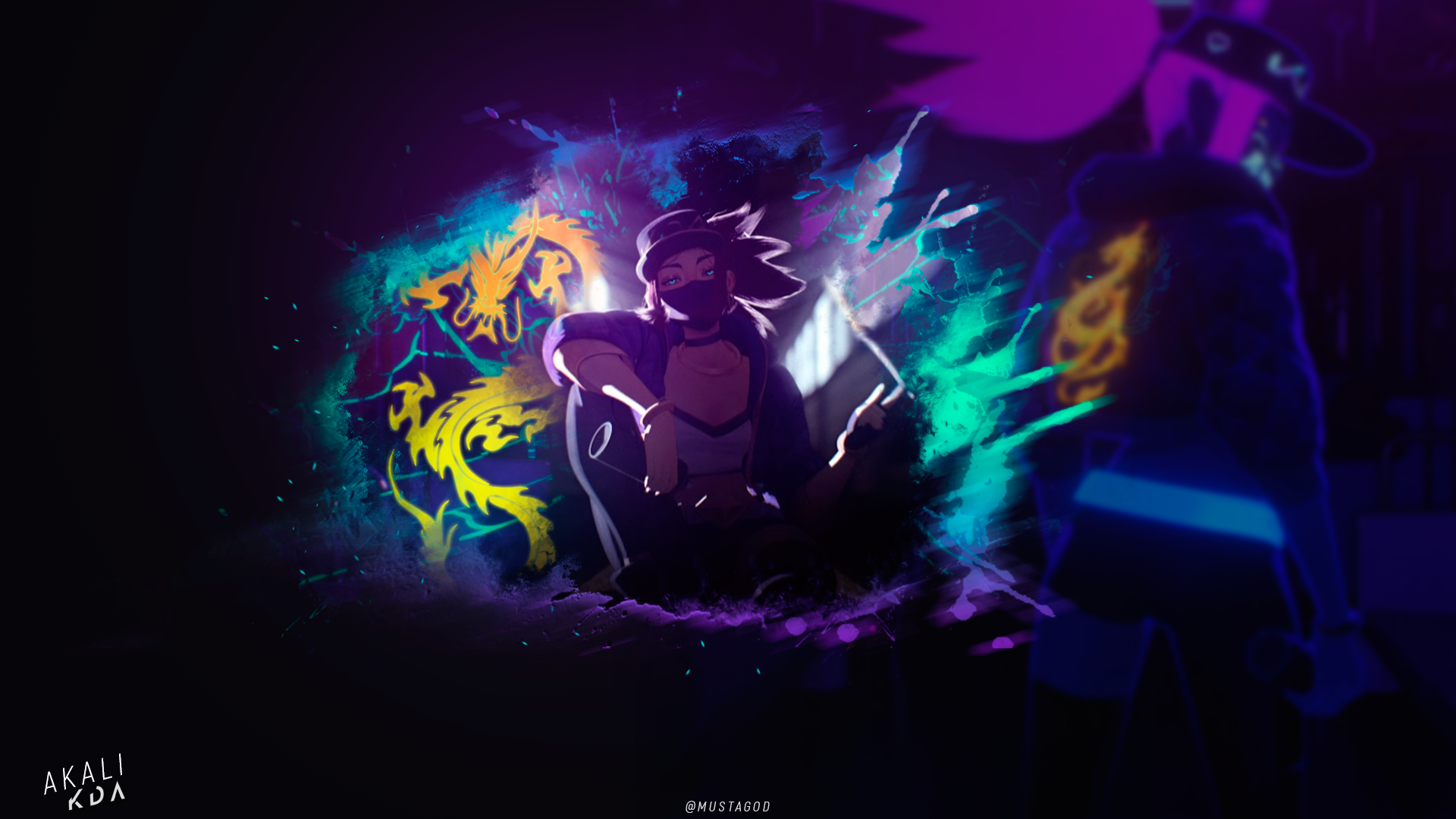 KDA Akali /Background by AlexMust4ng