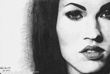 Megan Fox - Ballpoint pen on sketchbook by vitorjffg