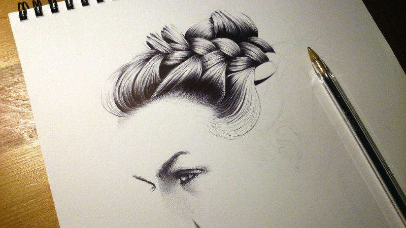 Hair Sketch - WIP1 by vitorjffg