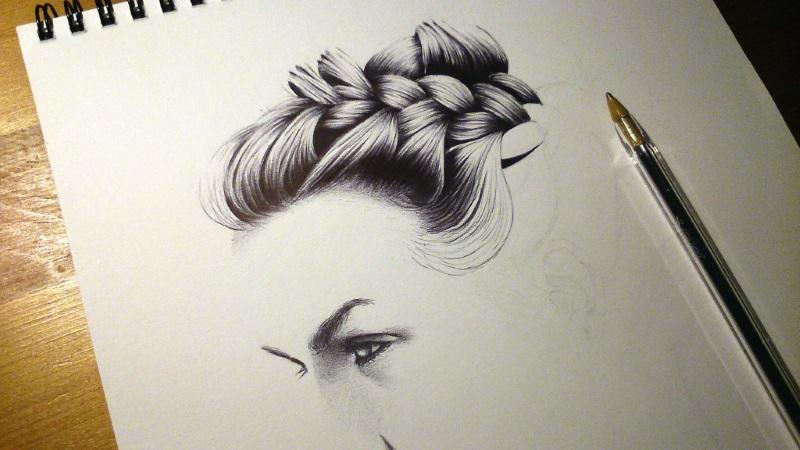 Hair Sketch - WIP1 by vitorjffg