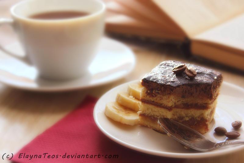 cake and tea by ElaynaTeos