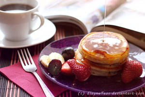 coffee and fritter with honey by ElaynaTeos