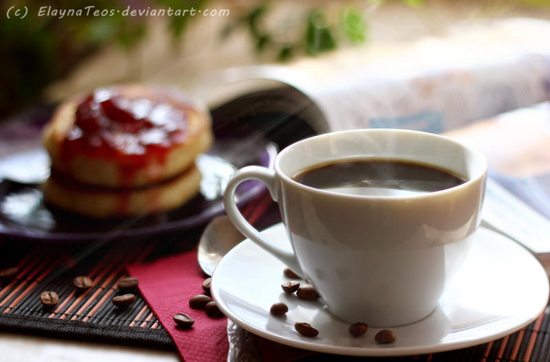 coffee and fritter with jam by ElaynaTeos