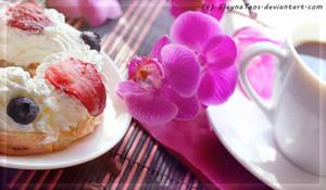 cream cake and coffe by ElaynaTeos