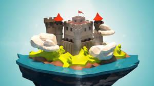 BLENDER: Low Poly Floating Castle