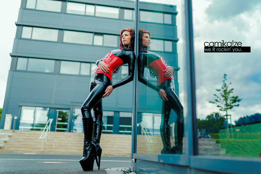 black catsuit, red corset - camika-ze