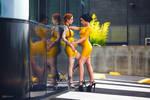 two yellow rubbergirls