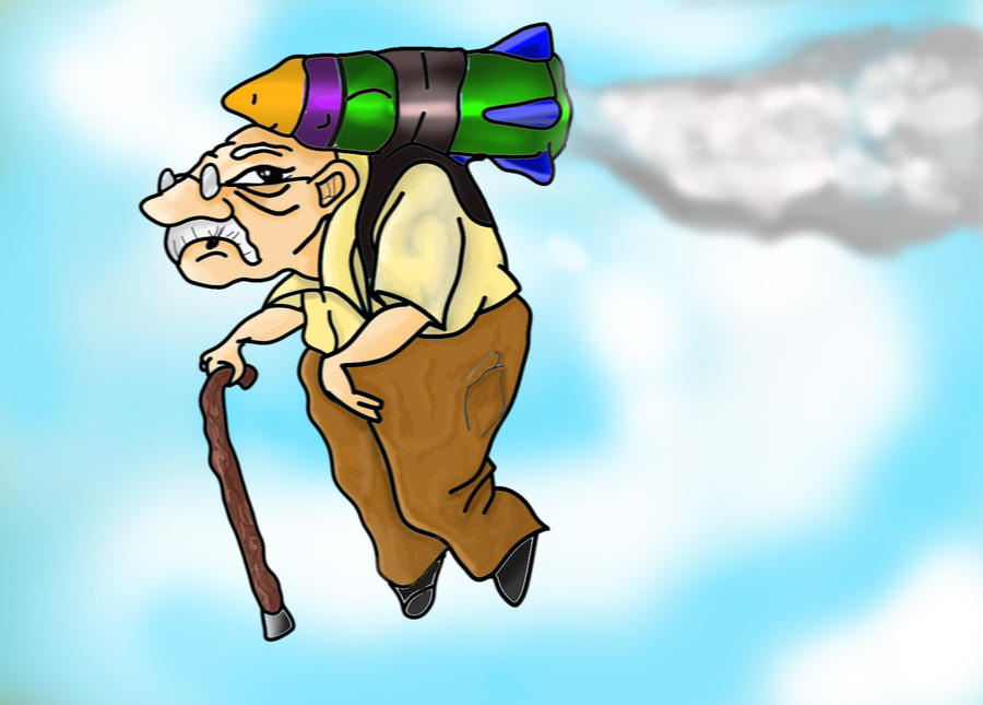 Flying Old Man by DigitalPen