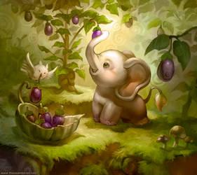 Elephant who likes Eggplant by ethe