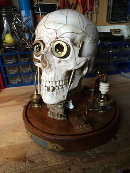 Revived fallen Steampunk Cyborg skull