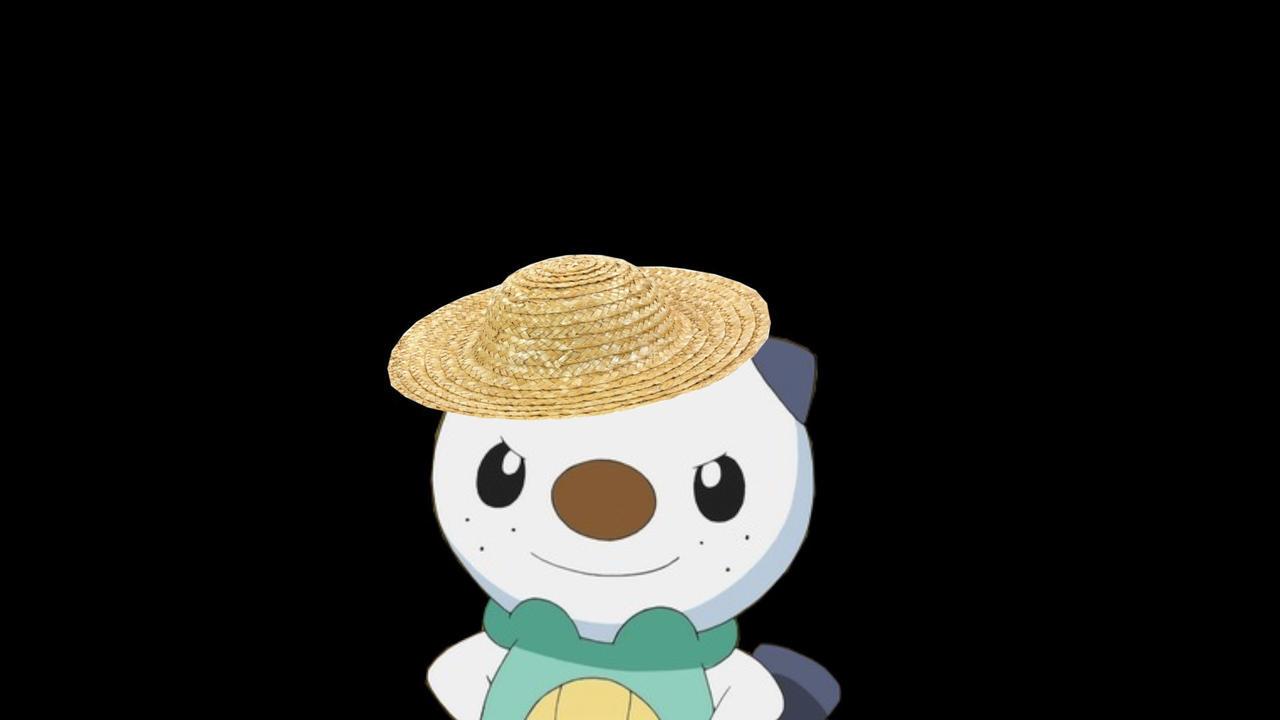 Oshawott with a straw hat