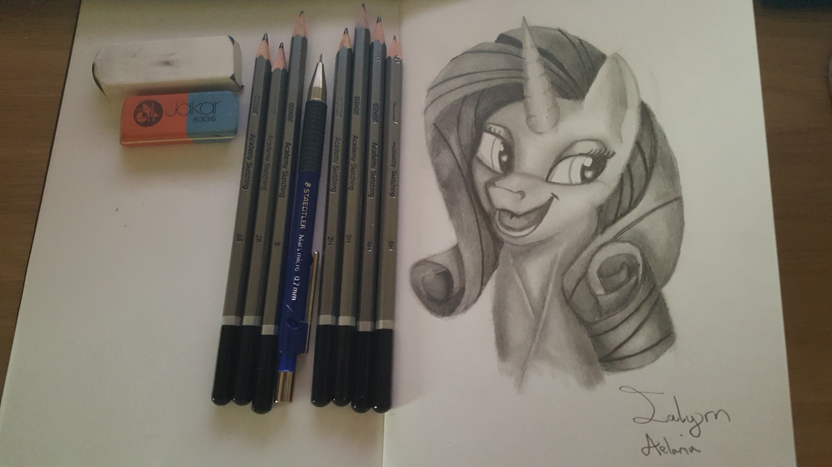 Any artist here? - Page 3 Rarity_portrait___sketchbook_page_4_by_ialyrnaeloria-da7yulj