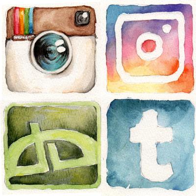 Social Media Watercolor Icons by chibipandora
