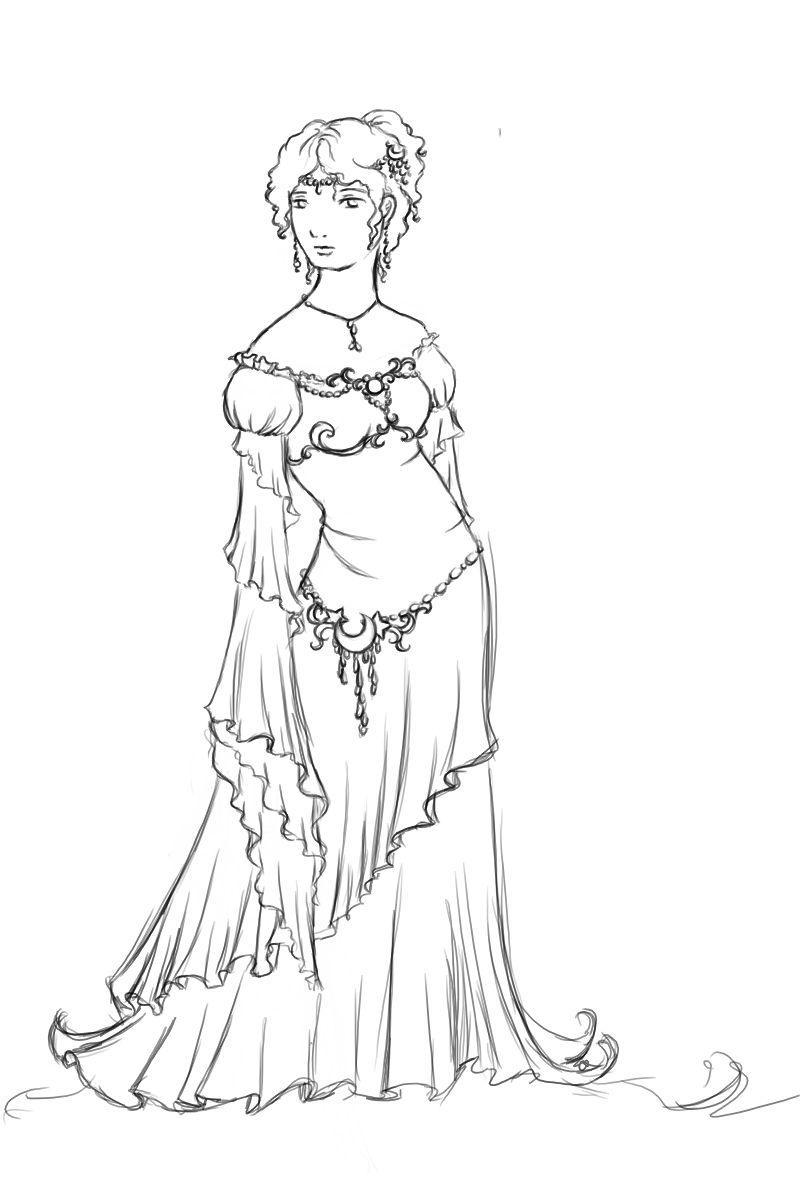 Sleepless gown - line art by chibipandora