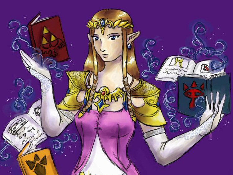 Zelda with books by chibipandora