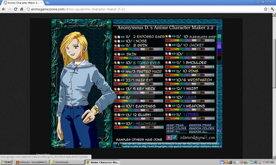 2 Anime Character Creator : Me used anonymous d s anime character maker by