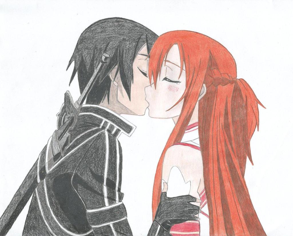 anime kleurplaten kirito and asuna kisss