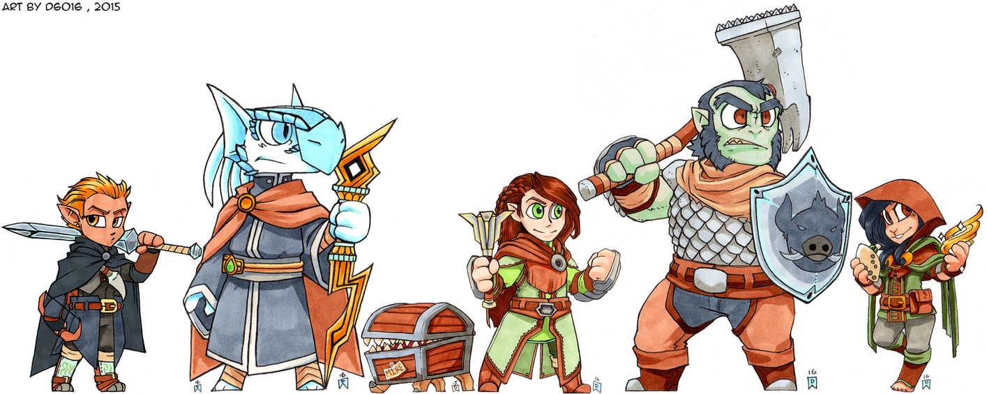 Our Dungeons and Dragons Crew by d6016