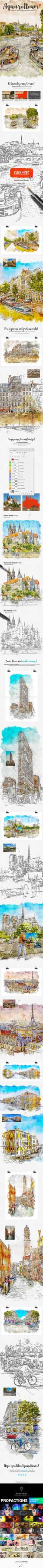 Aquarelleum - Urban Sketcher Photoshop Action