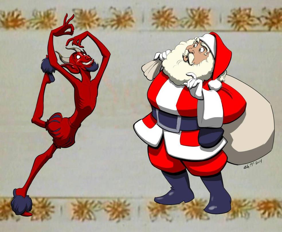 Santa vs. the Devil by basakward