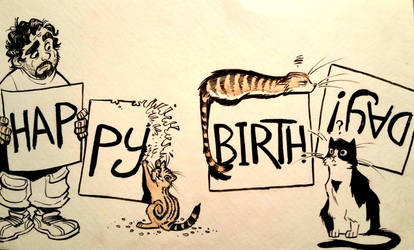 Birthday cats by basakward